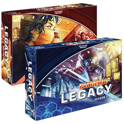 Pandemic Legacy Board Game Red and Blue Box Cover