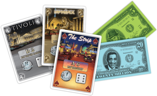 Mayfair Lords of Vegas Board Game Cards Closeup