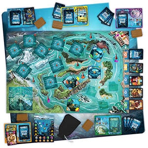 Deep Blue Board Game Layout and components