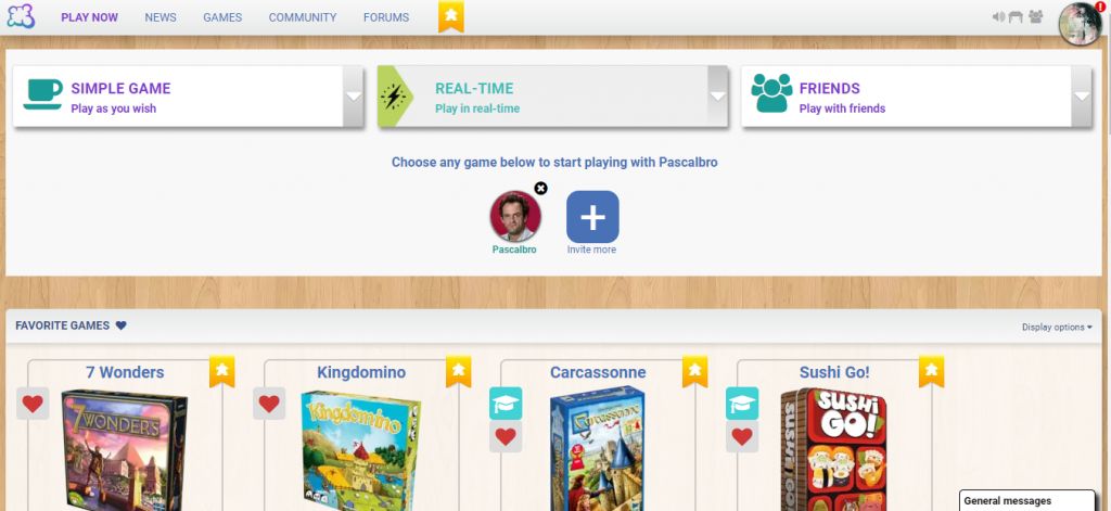 A screenshot of Board Game Arena's Play Now page, showing favorite games and friends to play with.