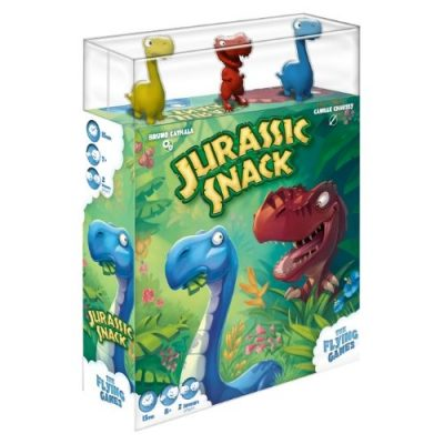 Jurassic Snack board game front cover box with miniatures